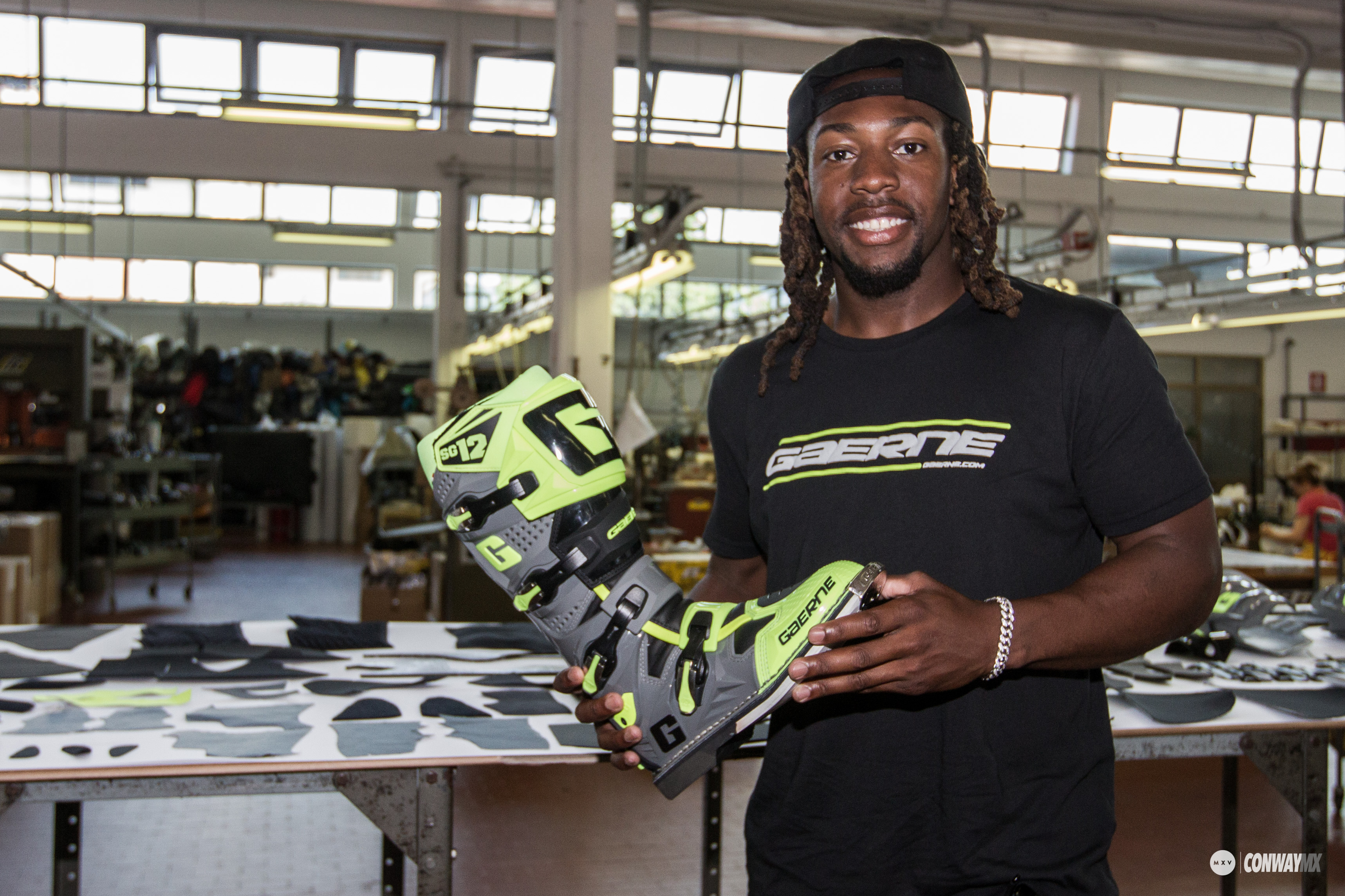 Gaerne athlete Malcolm Stewart with the Fluo Yellow SG-12 boot.